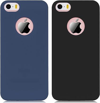 Yokata 2 x Coque iPhone 5 / 5S / Se, Solide Mat Anti-Fingerprint Case Housse Étui Soft Doux TPU Silicone Flexible Backcover Ultra Mince Coque - Bleu ...