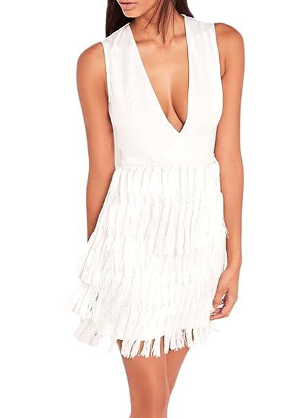 Azbro Mujer Vestido Cuello V Profundo sin Mangas con Borlas,blanco XL