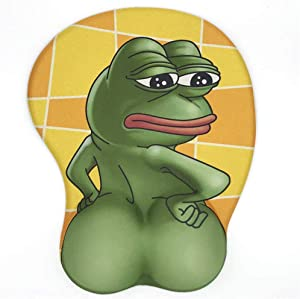 3D Pepe Sad Frog Mouse Pad Non Slip Silicone Mouse Mat Wrist Rest Pad for Office, Computer, Laptop (Frog)