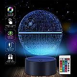 SJIAHEE 3D Star Wars Lamp - Star Wars Gifts - Star Wars Light - Optical Illusion Led Light - Star Wars Lamp Kids (Death Star)