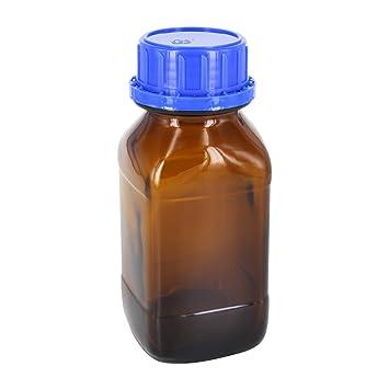 6 x 250 ml químicos Botella/Cuello Cuadrado marrón cristal con cuadrícula de corona con