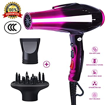 Amazon.com: Hair Dryer Hair Dryer with Diffuser Hair Dryer Professional eramic Ionic 3500W Powerful Fast Dry Hair Dryer for Hair Styling with 2 Nozzles: ...