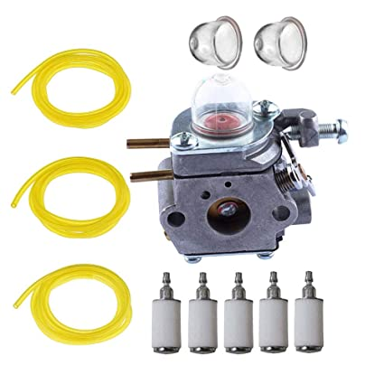 SaferCCTV(TM)Carburetor with Primer Bulb, 3 Different Size 6ft Long Fuel  Line, 5pcs Fuel Filter for Troy-Bilt TB80EC TB32EC YM21CS TB21EC TB22EC