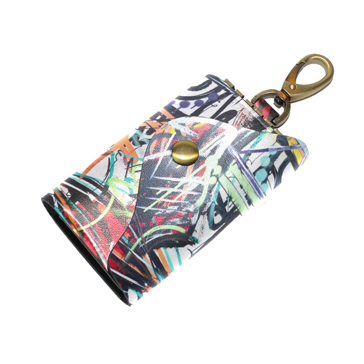KEAKIA Tiger Painting Leather Key Case Wallets Tri-fold Key Holder Keychains with 6 Hooks 2 Slot Snap Closure for Men Women