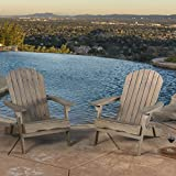 Great Deal Furniture Milan Brown Outdoor Folding Wood Adirondack Chair (Set of 2)