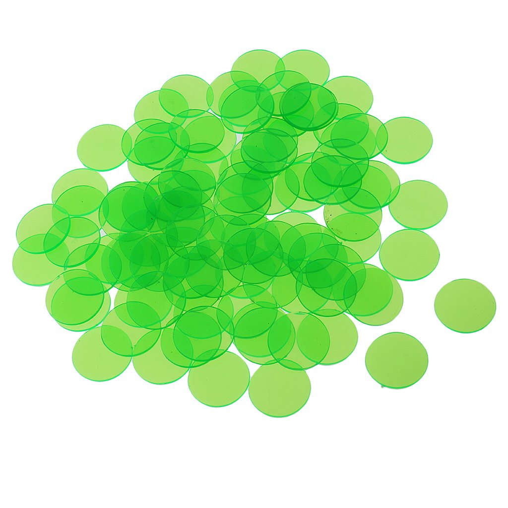 Dovewill 500Pcs Plastic 19mm Bingo Chips Markers for Bingo Game Poker Cards Kids Counters Toys Christmas Gift Green