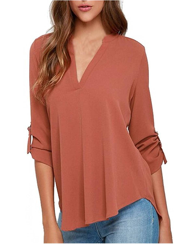 ZANZEA Mujeres Chiffon Blusa Camisa Manga Larga V Cuello Camiseta Top T Shirt Blouse Gran Tamaño Ladrillo Rojo ES 46/Asian 3XL: Amazon.es: Ropa y accesorios