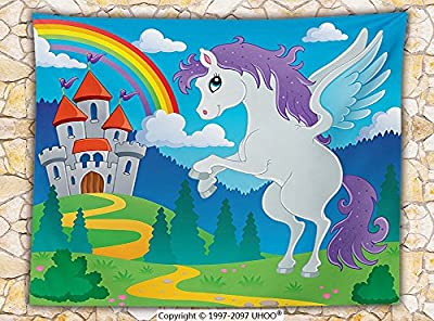 Kids Decor Fleece Throw Blanket Fantasy Myth Unicorn with Rainbow and Medieval Castle Fairy Tale Cartoon Design Throw Multicolor