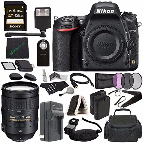 Nikon D750 DSLR Camera (Body Only) + Nikon AF-S NIKKOR 28-300mm f/3.5-5.6G ED VR Lens + 77mm 3 Piece Filter Set (UV, CPL, FL) + Battery + Sony 128GB SDXC Card + HDMI Cable + Card Reader + Flash Bundle