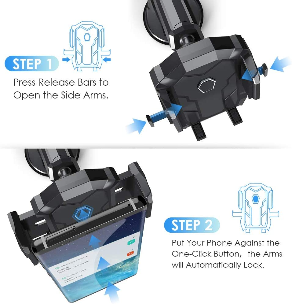 Phone Holder for Car,Universal Manords Dashboard Windshield Car Phone Mount Holder Compatible with Phone 11 Pro Xs XR X 8 7 Plus SE Samsung Galaxy S10 S10 S9,Note 10,LG,Huawei and More
