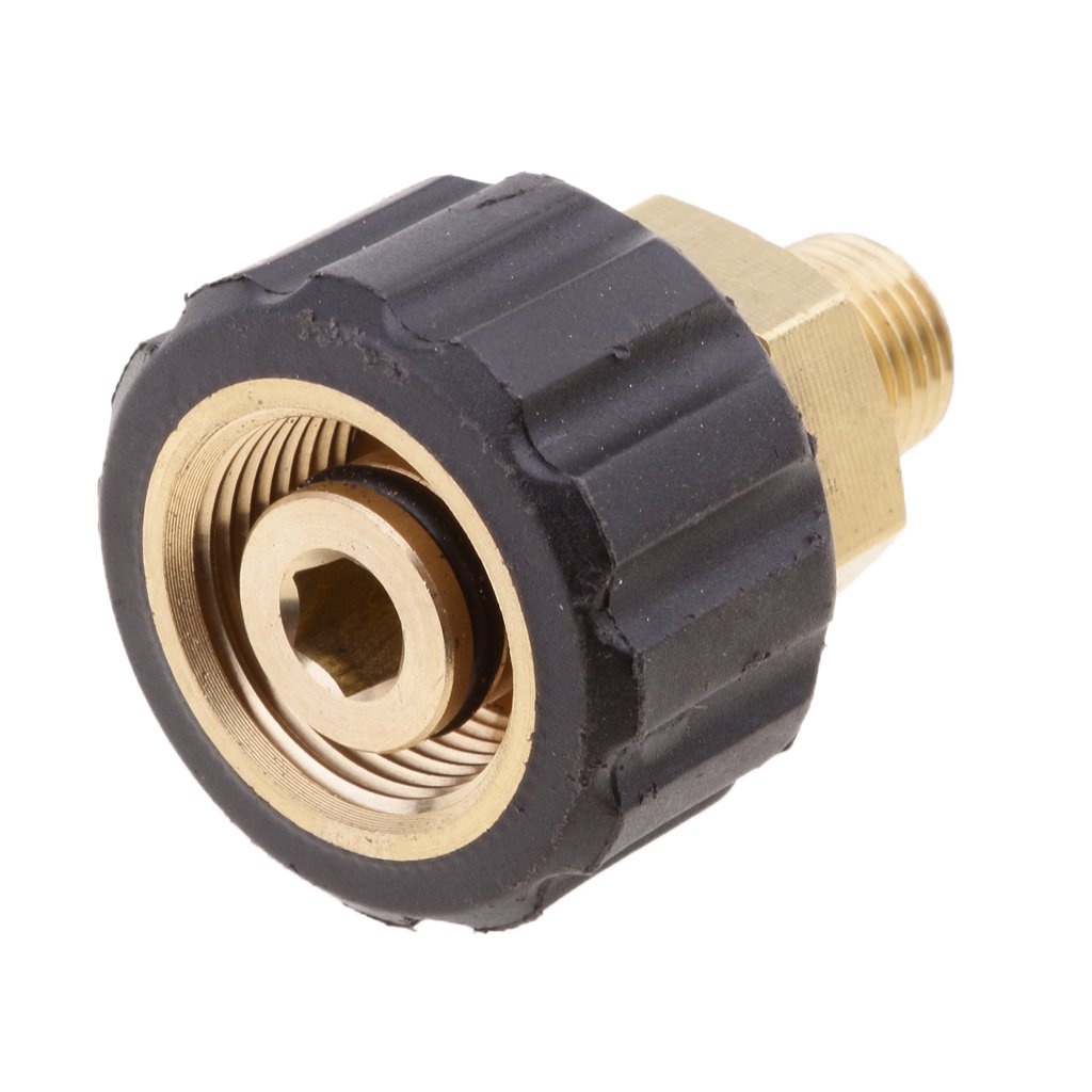 MagiDeal Male 1/4 To Female M22x1.5 Socket 14mm Hole Brass Pressure Washer Fitting