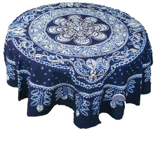 100% Hand Batik All Cotton 150cm Round Table Cloth Cover Tapestry Home Decor (Hand Batik Cotton Table Runner)