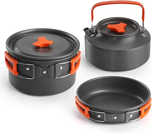 Aitsite Camping Kit de Utensilios de Cocina al Aire Libre de Aluminio Ligero Camping Pot Pan Set de Cocina para Acampar yendo de excursión
