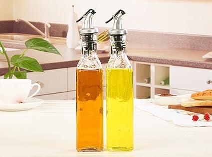 FJXLZ® Suministros de cocina Vidrio Lecythus Salsa de Soya Botella Vinagre Cocinar Vino Almacenamiento Tarro