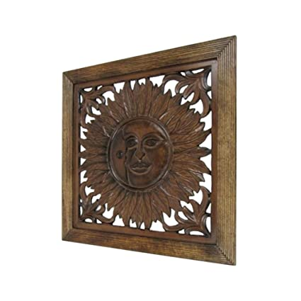 Amazon Com Carved Wooden Wall Panel Wall Hanging Sun Nautical