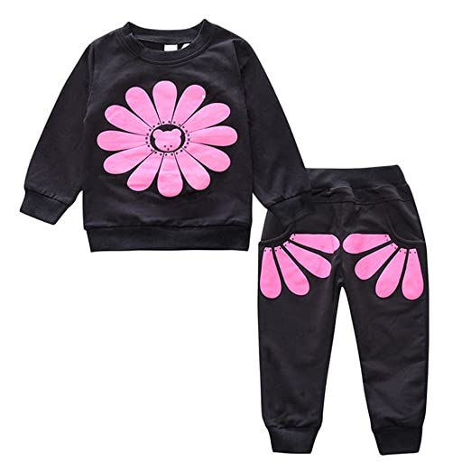 fd0d984ba065 Amazon.com  Baby Girl 2pcs Sunflower Clothing Sets Top and Pants ...