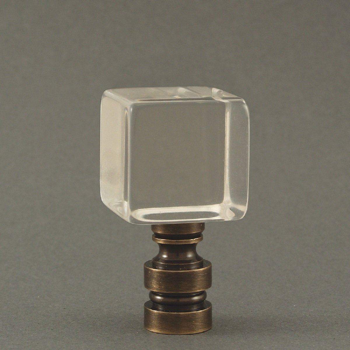 1 Inch Square Acrylic Lamp Finial 2 Inch High with choice of base (Bronze)