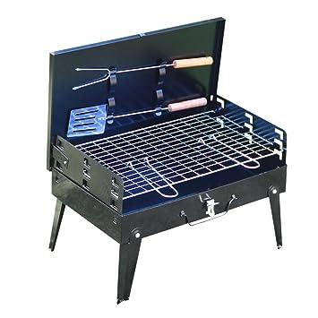 Asvert Barbacoa Portátil Plegable Carbon Asador con Utensilios Parrilla de Acero Inoxidable para BBQ Senderismo Camping Acampada y Picnic