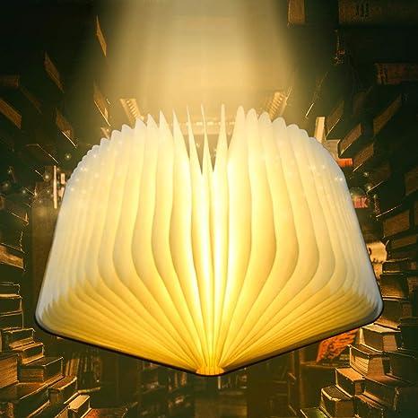 Libro Lámpara LED Luces Plegables de Madera, Luz de Libro USB Recargable con batería 1700mAh/600 Lúmenes/Grande, Luz de Magnética Noche, Lámpara de ...
