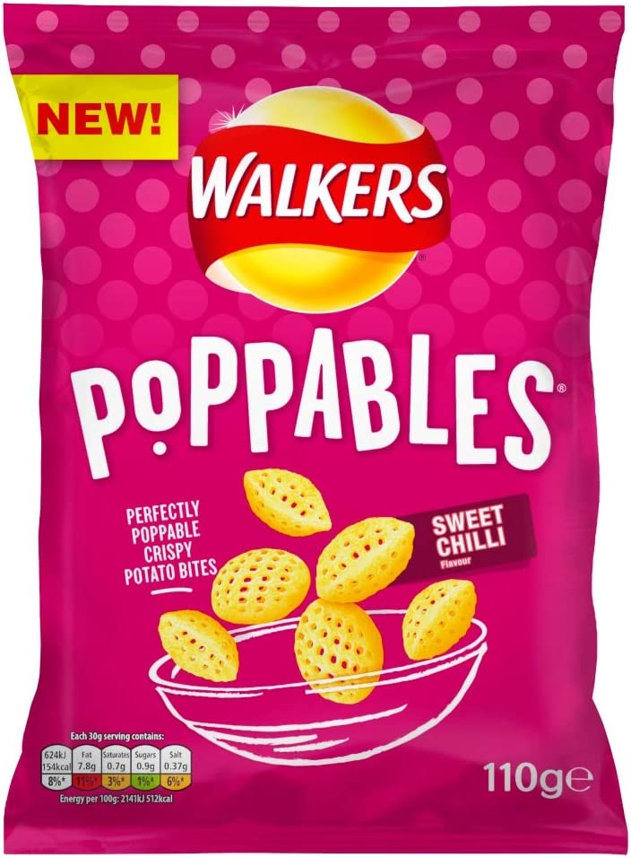 Walkers Crisps Poppables Sweet Chilli Sharing Snacks, 110g