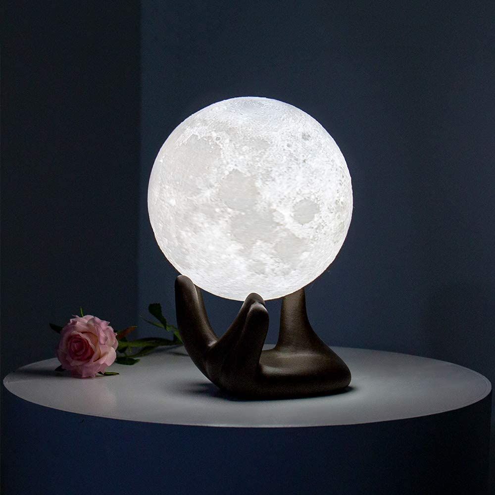 BRIGHTWORLD Moon Lamp, 3.5 inch 3D Printing Lunar Lamp Night Light with Black Hand Stand as Kids Women Girls Boy Birthday Gift, USB Charging Touch Control Brightness Two Tone Warm Cool White