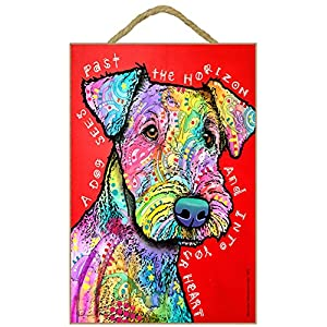 """SJT ENTERPRISES, INC. Airedale - A Dog sees Past The Horizon and into Your Heart 7"""" x 10.5"""" Wood Plaque Sign Featuring The Artwork of Dean Russo (SJT78215) 1"""