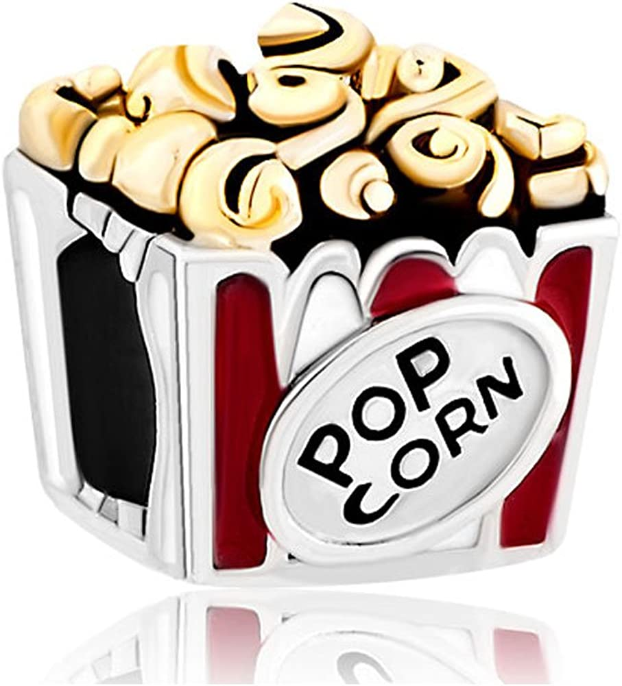 CharmSStory Hot Food Pop Corn Silver Plated Charm Beads for Bracelets