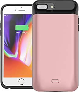 Battery Case for iPhone 8 Plus/7 Plus 7200mAh, Rechargeable Battery Case for iPhone 7 Plus, 8 Plus (5.5 inch) Extended Battery Charger Case Backup Power Bank - Pink