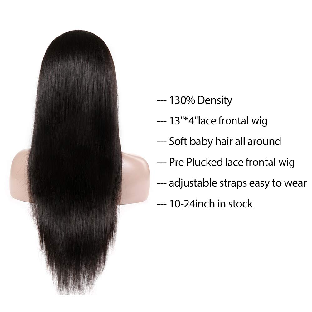 d4ad48745 Amazon.com  Straight Hair Lace Front Wig (18 inch) Malaysian 9A Remy Virgin  Human Hair Wigs with Baby Hair For Black Women Lace Frontal Wig  Beauty