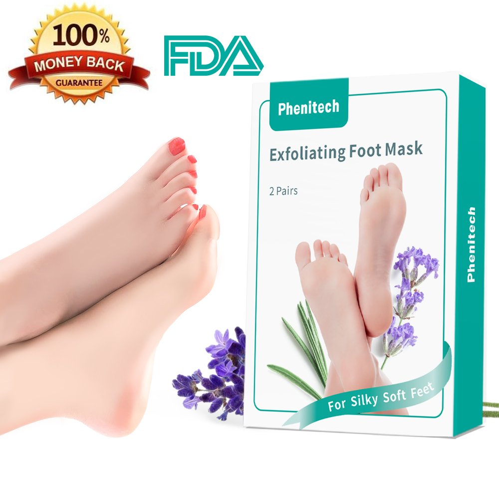 Foot Peel Mask Feet Baby Soft Touch 2 Pack- Phenitech Exfoliating Dead skin Foot Peeling Mask and Callus Reducer Away