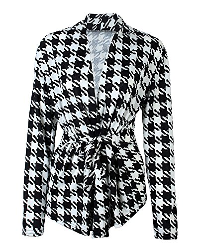Houndstooth Blazer (Kobwa(TM) Womens Long Sleeve Houndstooth Pattern Coat Outwear)