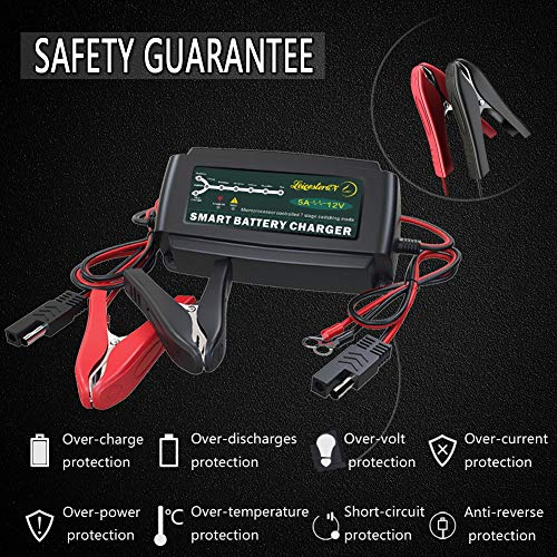 LST 12V 5A Automatic Battery Charger Maintainer Smart Portable Deep Cycle Trickle Charger for Automotive Car Boat Motorcycle Lawn Mower RV SLA ATV AGM GEL CELL WET& FLOODED Lead Acid Battery by LEICESTERCN (Image #3)