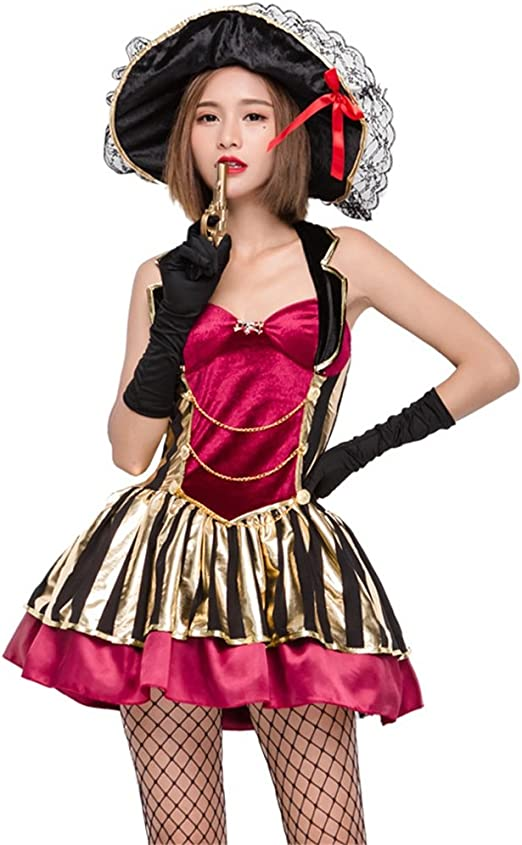 D_HOM Disfraz de Halloween COS Traje de Pirata de Belleza Halter ...