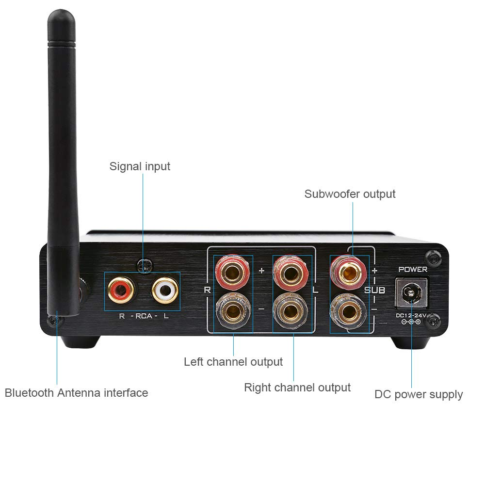 VYNBDA 2.1 Canal 50W 50W 100W 4.0 Amplificador Digital 200W para Sistema de Sonido de Alta Fidelidad Subwoofer