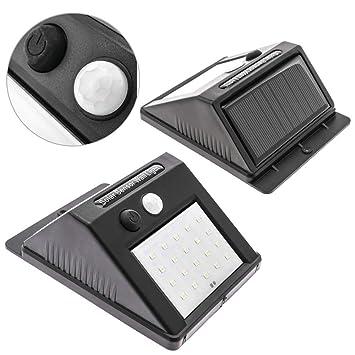 PrimeMatik - Aplique Solar LED Lámpara Recargable de Pared con Sensor de Movimiento y Oscuridad IP65