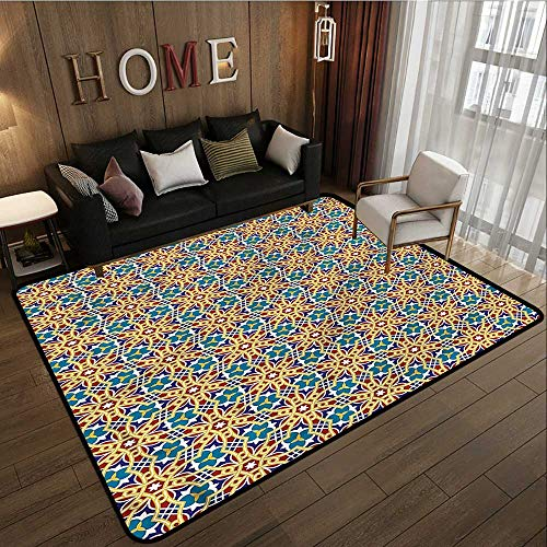 Kids Rug Arabic Oval Lines Floral Elements Children Crawling Bedroom Rug 4'11