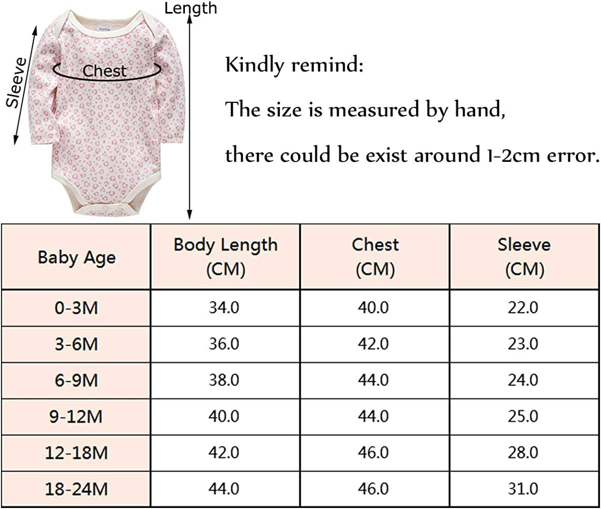 kavkas Baby Long Sleeve Onesies Infant Soft Cotton Bodysuit Undershirts 3 Pack Cute Vest for Boys and Girls 0-24 Months
