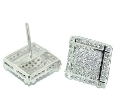 7e2d0f186 Image Unavailable. Image not available for. Color: 10mm Wide White Diamond  Earrings Mens ...