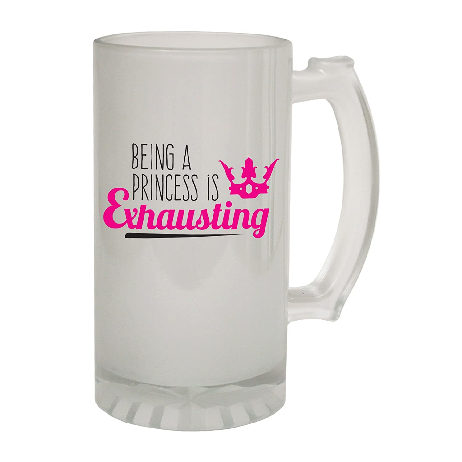123t Frosted Glass Beer Stein - Being Princess Exhausting Her - Funny Novelty Birthday