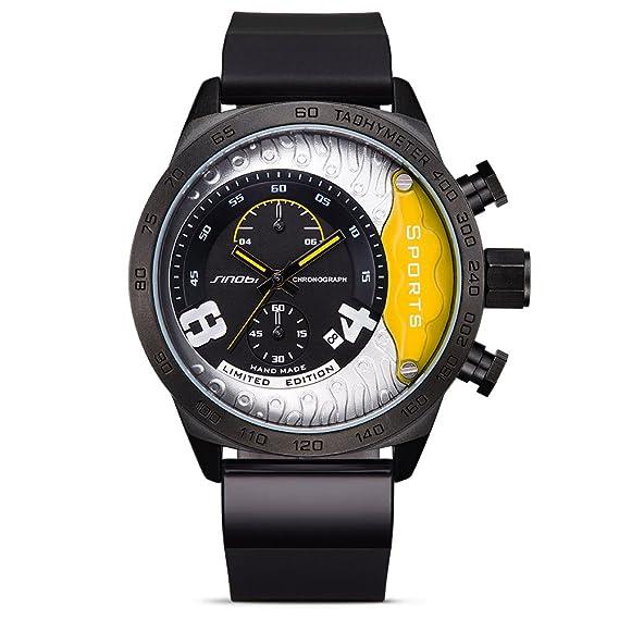Relojes Militares de Cuero de Cuarzo para Hombre Cronógrafo de Pulsera con cuenta atrás: Amazon.es: Relojes
