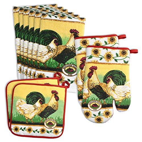 DII Printed Terry Kitchent Starter Set, 6 Dish Towels, 2 Pot Holders and 2 Oven Mitts, Perfect for New Home, Apartment, Dorms-Rooster