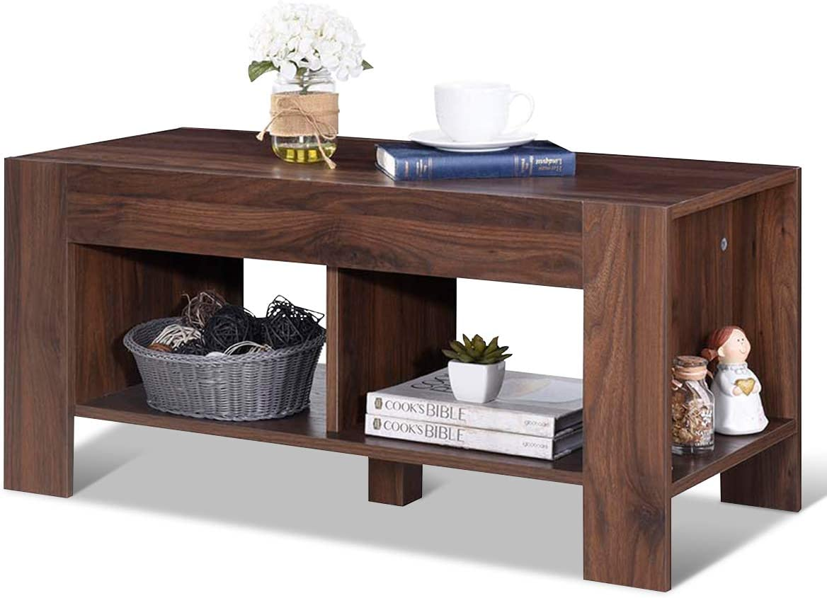Tea Table with Storage Shelf Sofa Table for Home Living Room Office Furniture Brown Tangkula Coffee Table 2-Tier Coffee Table