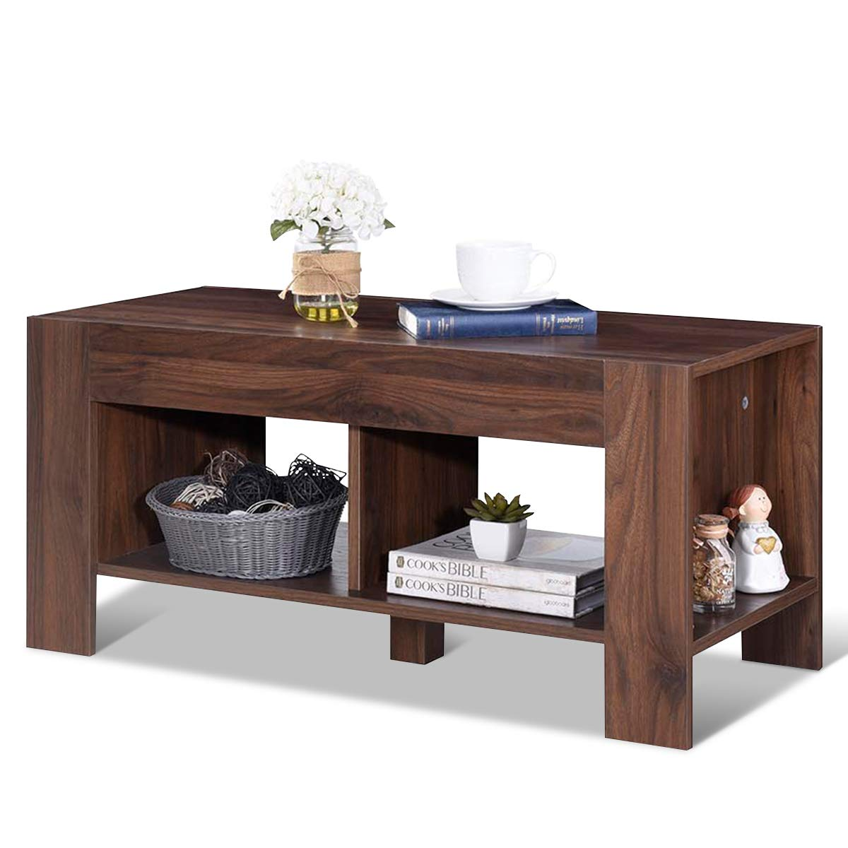 Tangkula Coffee Table, Tea Table with Storage Shelf, Sofa Table for Home Living Room Office Furniture, 2-Tier Coffee Table (Brown) by Tangkula