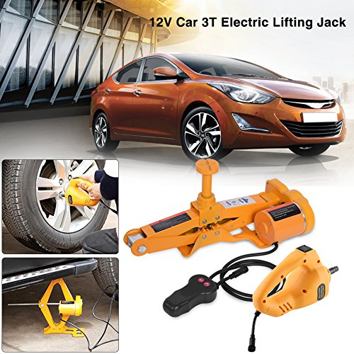 Push Button Crank Lift (Automotive Electric Car Jack, 3 Ton 12V DC Scissor Lift Jacks Electric Jack Lifting Car SUV Emergency Equipment Impact Wrench with Controller)
