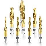 Camtek 8 piezas combinado Titanio brocas rosca HSS 1/4 Vástago HSS Tornillo Manual MétricoTornillos de Taladro Chapado de titanio Color cobre