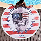 Thick Round Beach Towel Blanket India Mandala Large Microfiber Beach Throw Picnic Tapestry with Tassels Gothic Table Cloth Yoga Mat Beach Blanket Roundie 60 Inch Water-Absorbent Sunscreen Shawl Skirt