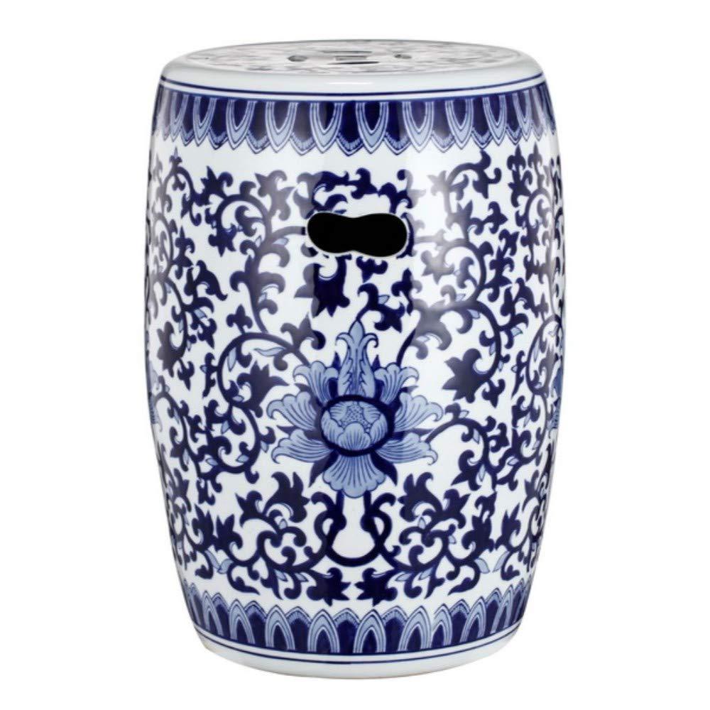 Benzara BM149598 Elegant Classic Garden Stool, Blue and White