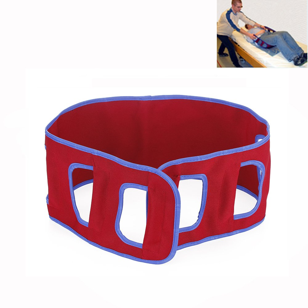 Transfer Belt Patient Lift Sling Medical Supplies Equipment Mobility Transferring Board Standing Aids Supports Bed to The Wheelchair, Car, or Another Chair (Red)