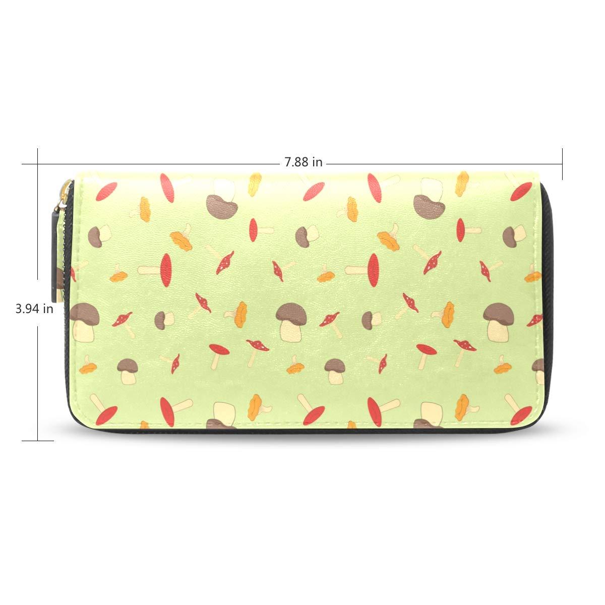 Women Various Mushrooms Yellow Leather Wallet Large Capacity Zipper Travel Wristlet Bags Clutch Cellphone Bag