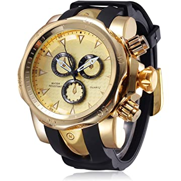 JIANGYUYAN Mens Unique Fashion Casual Business Watches Analog Quartz Waterproof Sport Gold Large Dial(2.28